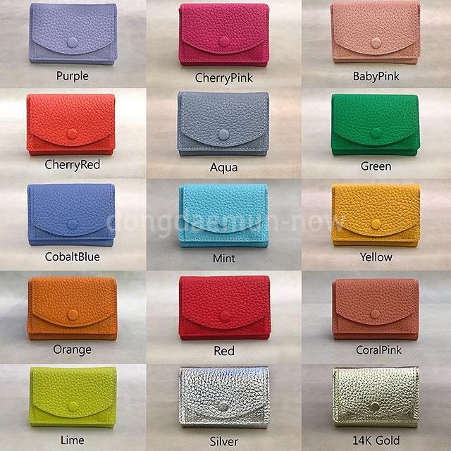 レザー三つ折りボタンミニ財布 ブライトカラー15色