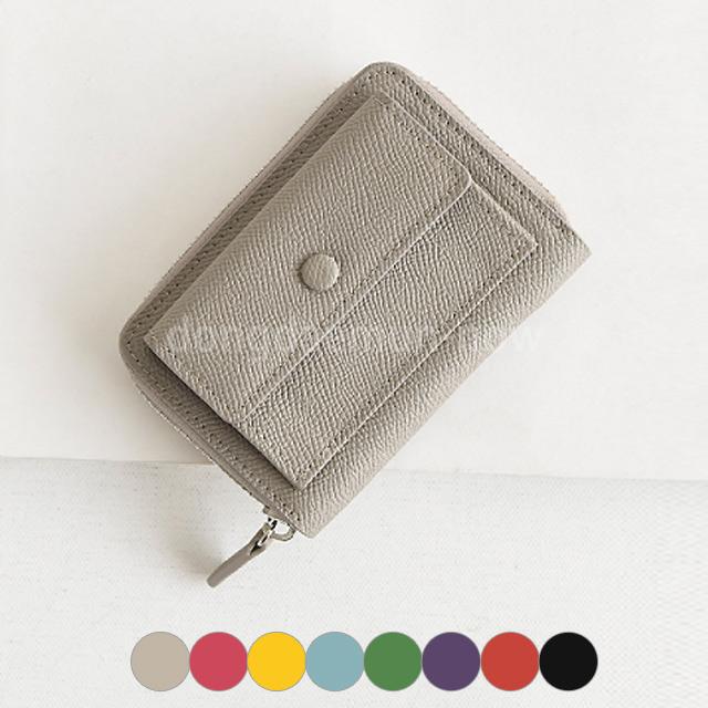 レザーラウンドジップボタンミニ財布 8color