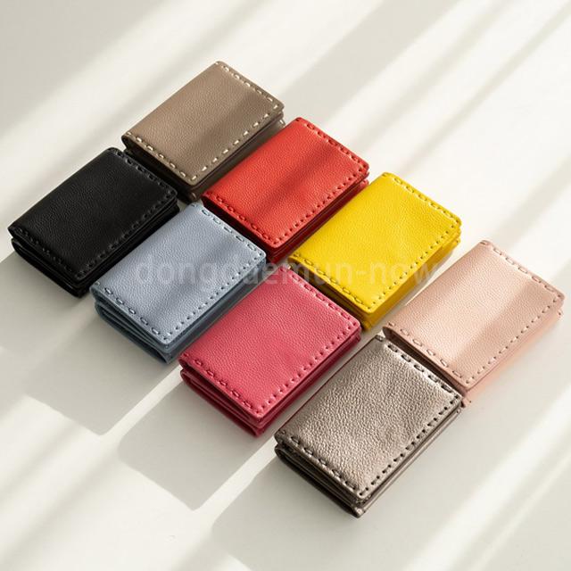 レザー手縫い風ステッチ三つ折りミニ財布 8color